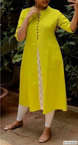 Elegant knee Lenght Cotton Solid With Button Kurti 3/4th Sleeves | Fancy Kurti