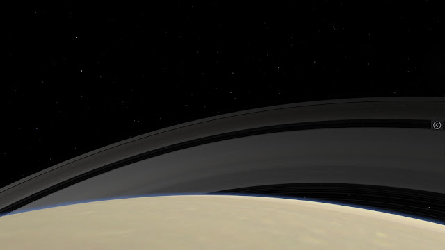 Rings seen from Saturn at northern polar latitudes. View in Celestia for Android on an ASUS Chromebox.