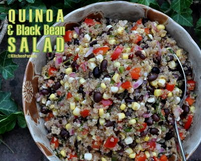 Quinoa & Black Bean Salad ♥ KitchenParade.com, a great make-ahead salad recipe. Hearty with quinoa and crunchy with vegetables, bright with lime. A real crowd pleaser.