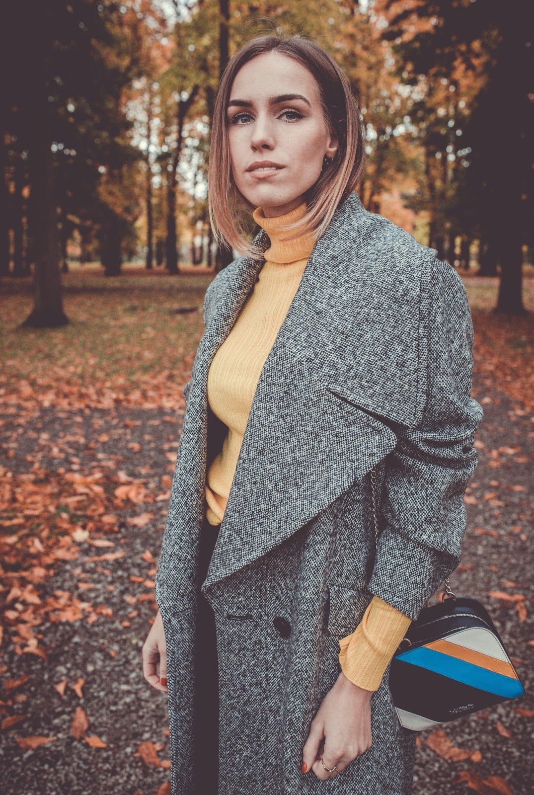 grey coat yellow turtleneck jumper outfit fall
