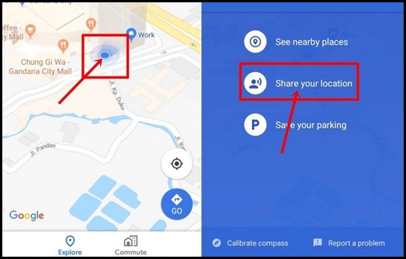 cara share lokasi google map