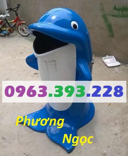 Thùng rác hình con cá heo, thùng rác công cộng, thùng rác cá heo, thùng rác TRCH4