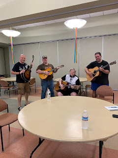 Left to right: Jamie Barrett, instructor, veterans Matt Linahan, David Kast and Scott Halet