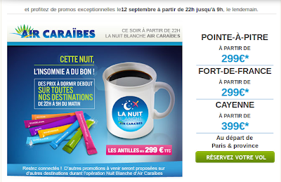 Nuit Blanche Promo Air Caraibes vol Gladeloupe, Martinique dès 299 euros.