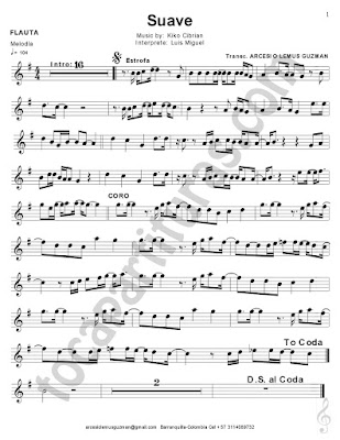 Hoja 2 Flauta Travesera, flauta dulce y flauta de pico Partitura de Suave de Luis Miguel Sheet Music for Flute and Recorder Music Scores    Sirve para Oboe y Violín