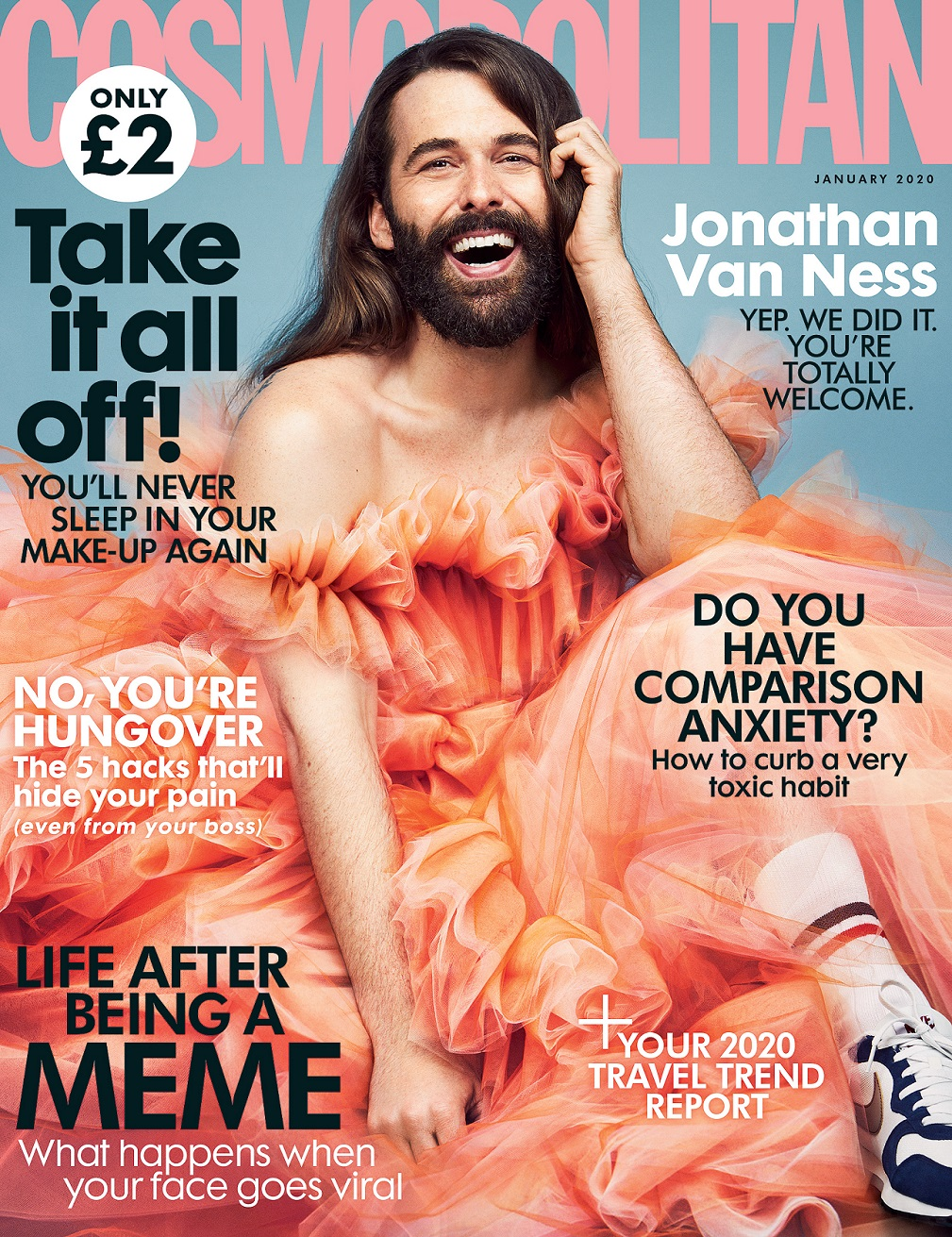 Jonathan Van Ness Slays as First Non-Female Cosmopolitan UK Cover Star Since 1984