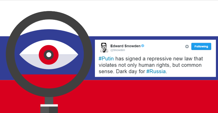 Snowden says It's a 'Dark Day for Russia' after Putin Signs Anti-Terror Law