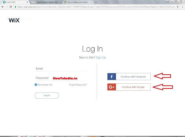 Login or Signup on Wix.com