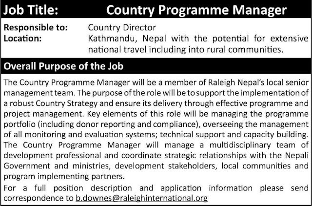 Raleigh Nepal Job Vacancy