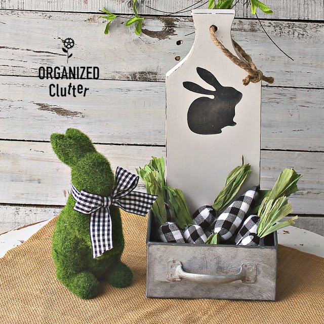 Photo of cutting board spring decor with bunny & metal container