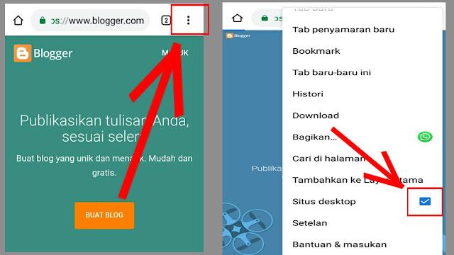 cara mengaktifkan mode desktop ketika membuat blog lewat hp