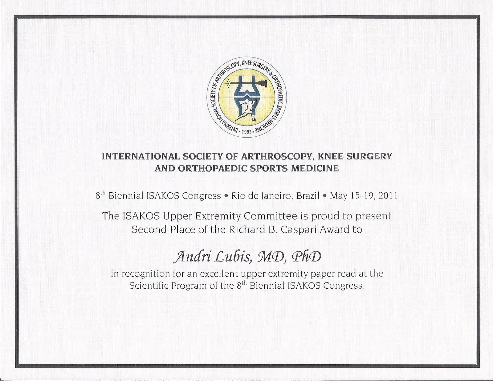 Penghargaan Richard Caspary Award - DR Andri Lubis