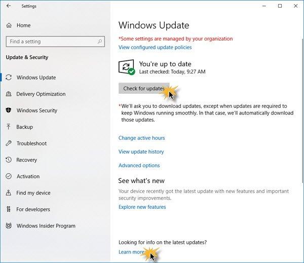 Cara memeriksa pembaruan di Windows 10