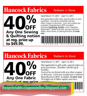 Free Printable Hancock Fabrics Coupons