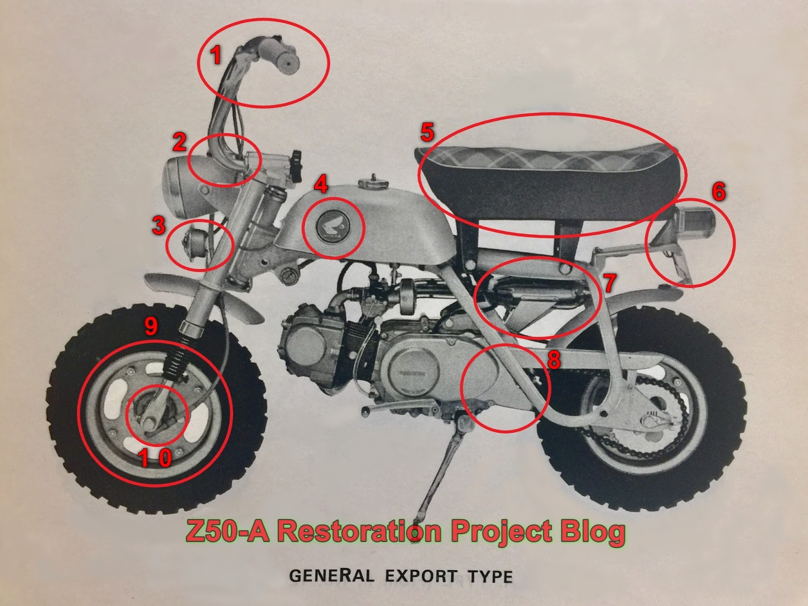 medium resolution of honda z50a general export type sweden and uk model mini trail monkey