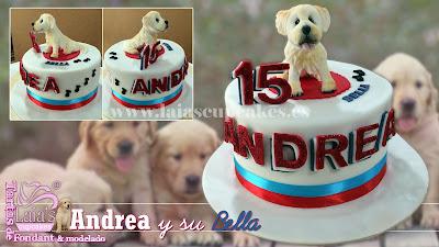 tarta personalizada fondant modelado golden perro cumpleaños 15 laia's cupcakes puerto sagunto