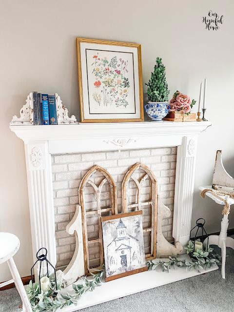 floral fireplace mantel decor