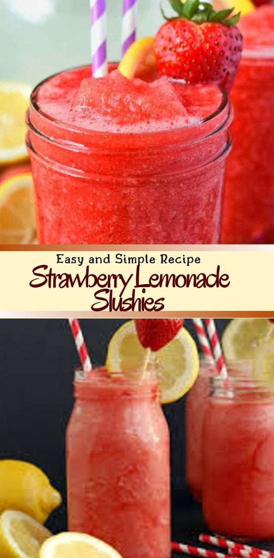 Strawberry Lemonade Slushies #healthydrink #easyrecipe #cocktail #smoothie