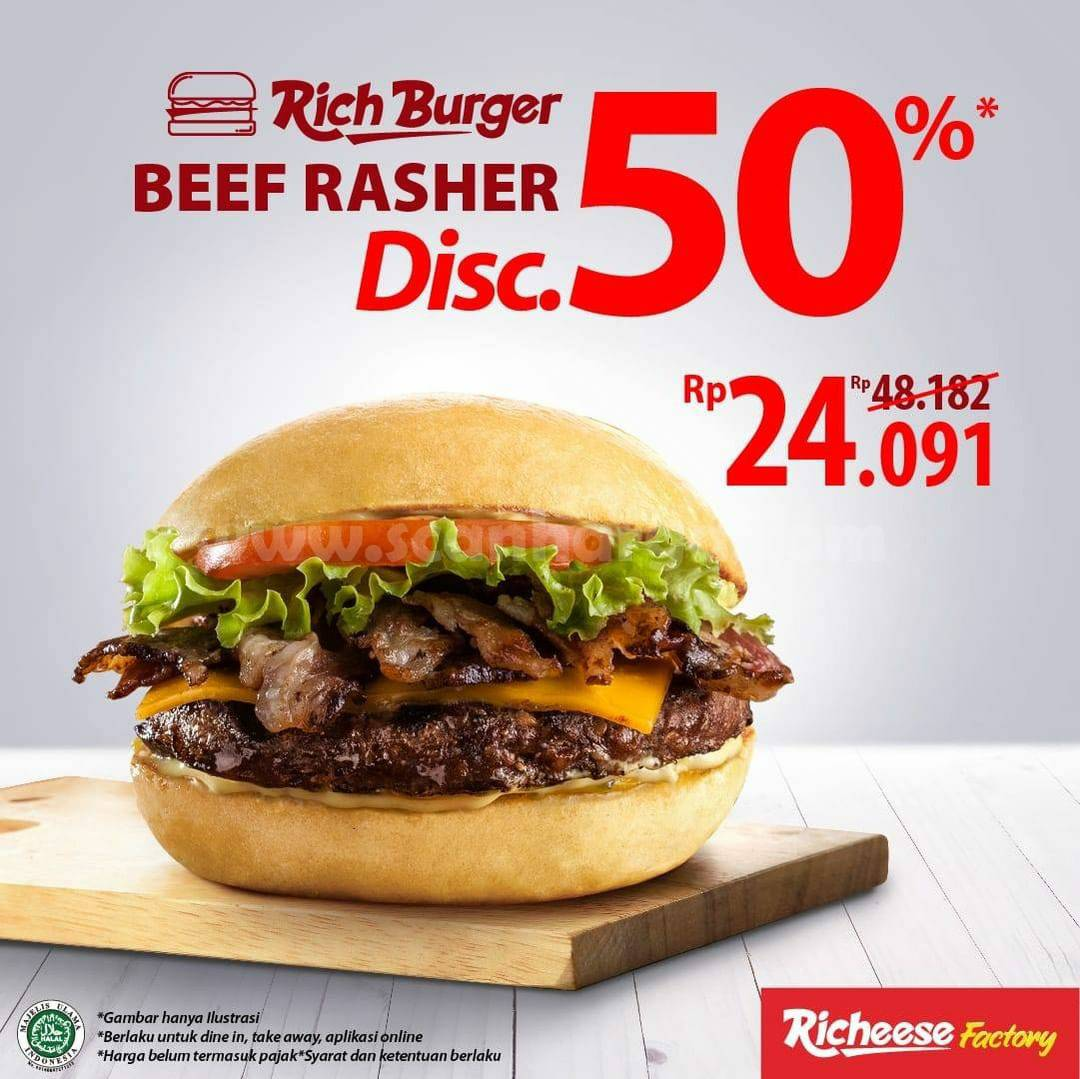 Richeese Factory Promo Diskon 50% untuk menu Rich Burger Beef Rasher