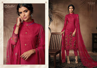 Zulfat Designer Winter Queen Woolen  Salwar Kameez Collection At Diwan Fashion