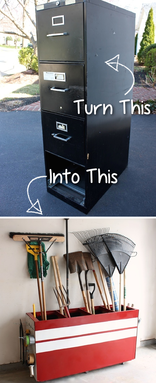 Use an old metal file cabinet to organize garage tools