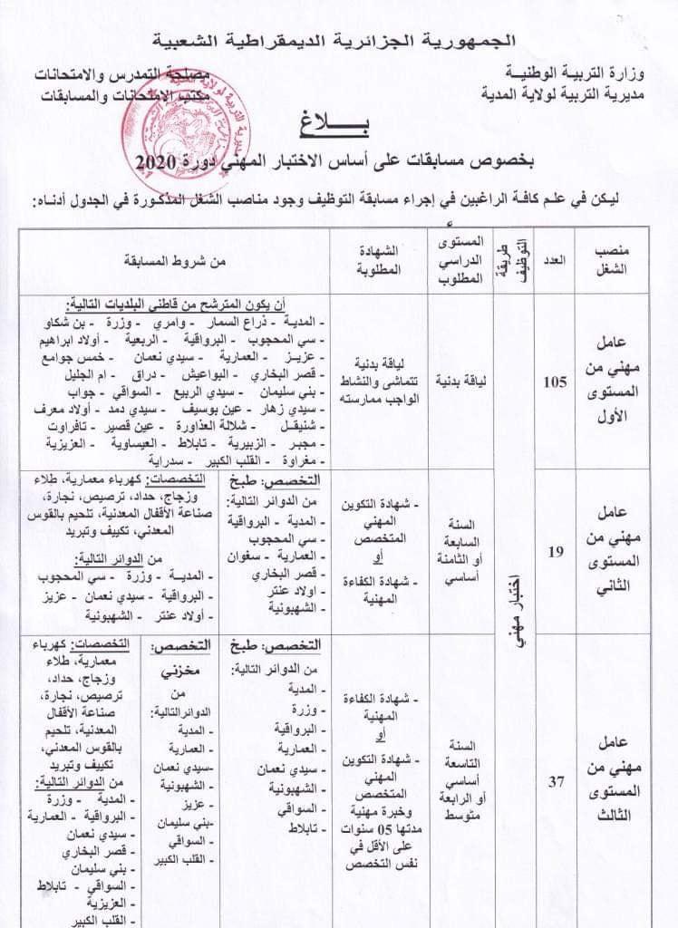 اعلان توظيف بمديرية التربية لولاية المدية 09 جانفي 2021