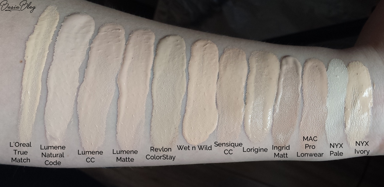 L'Oreal True Match 1 Ivory, Lumene Natural Code 10 Vanilla, Lumene CC Cream 6w1 Ultra Light, Lumene Matte 00 Ultra Light, Revlon Colorstay Combination/Oily 150 Buff, Wet n wild Photo Focus Foundation Soft Ivory, Sensique CC 01 Ivory, Lorigine Mythique Charm Mineral Luminous Smoothness Foundation 1.5 Ivory, Ingrid Ideal Matt 300, MAC Pro Longwear Nourishing Waterproof NC15, NYX Total Control Drop Foundation 01 Pale, NYX Stay matte but not flat 01 Ivory