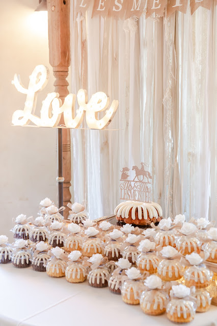 Cake Table and Decor at Shenandoah Mill June Wedding with Nothing Bundt Cake