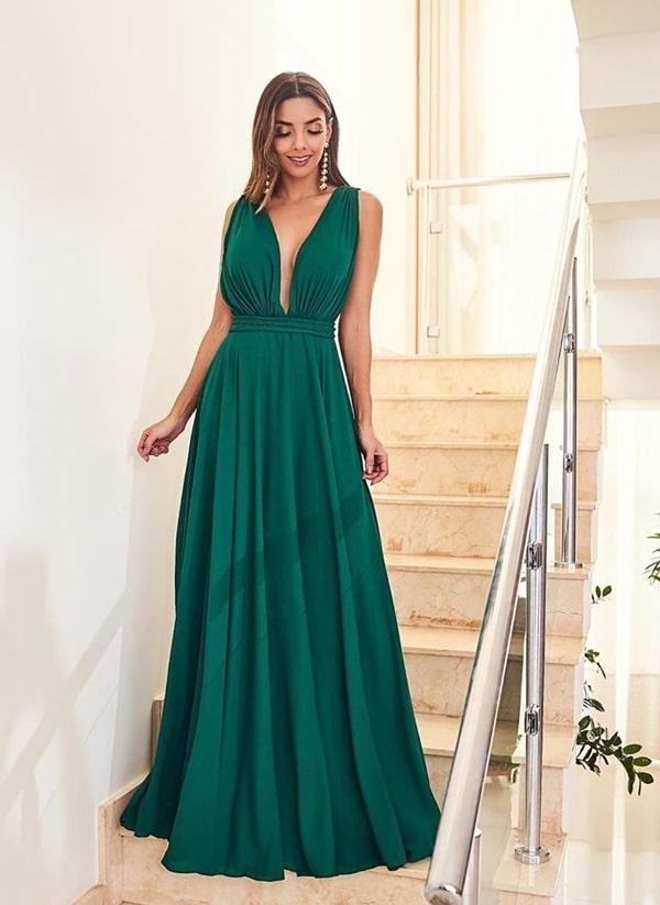 vestido de festa longo verde esmeralda fluido  para madrinha de casamento