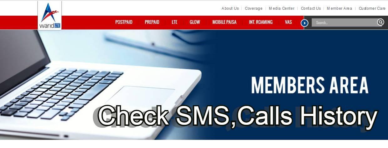 warid member area - How to Check Warid Calls,SMS History?