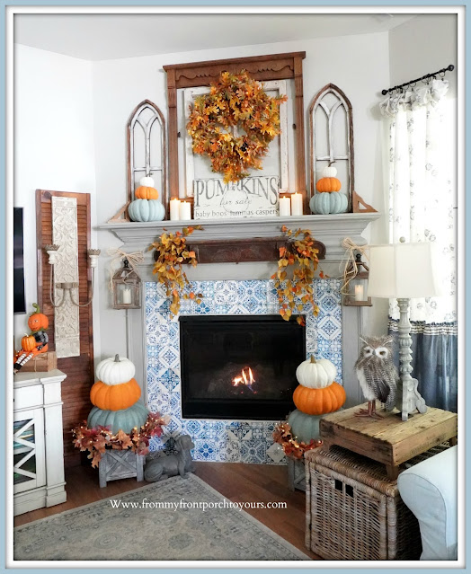 Farmhouse Cottage Fall Fireplace Mantel-French Farmhouse-From My Front Porch To Yours