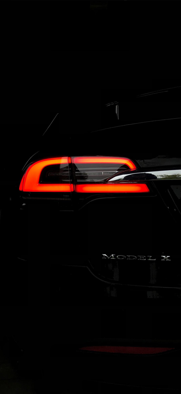 خلفية الضوء الخلفي لسيارة تيسلا مودل اكس سوداء