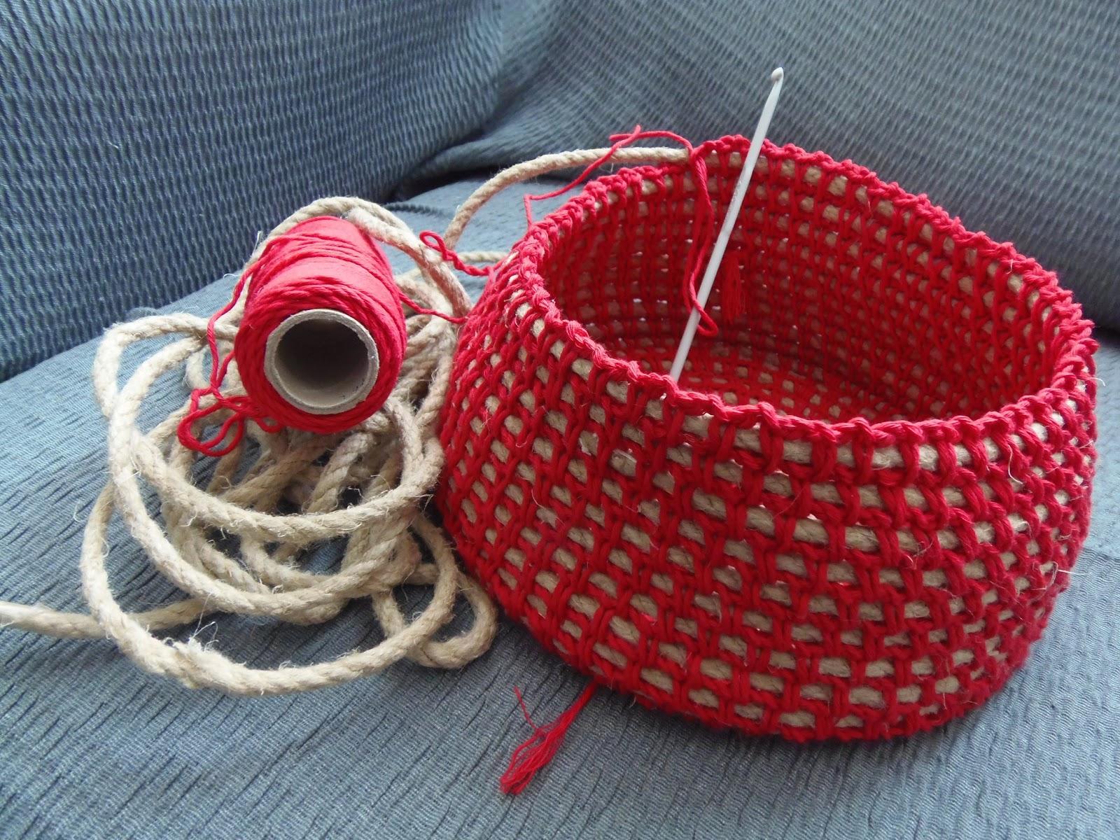 Susicoses cesta de cuerda e hilo - Cesta de cuerda y ganchillo ...