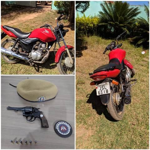 Ibicoara: Polícia Militar apreende motocicleta e arma de fogo, em Cascavel