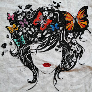 Woman with butterflies cross stitch kit