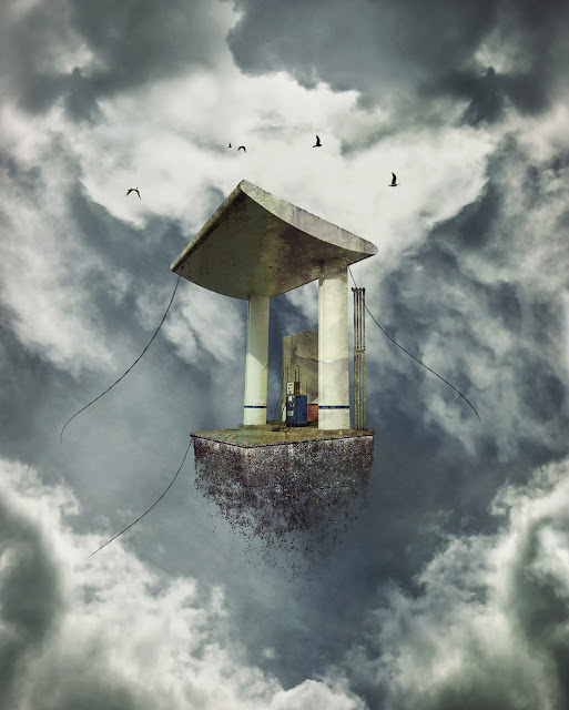 Flying House, Maison Volante, La Roche sur Yon, birds, gas station, clouds