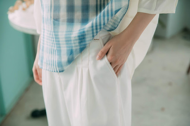 日光風景壓線寬管褲-白褲