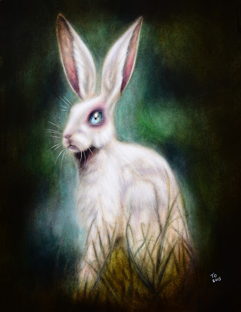 painting of a rabbit in green grass and green background by tiago azevedo a lowbrow pop surrealism artist