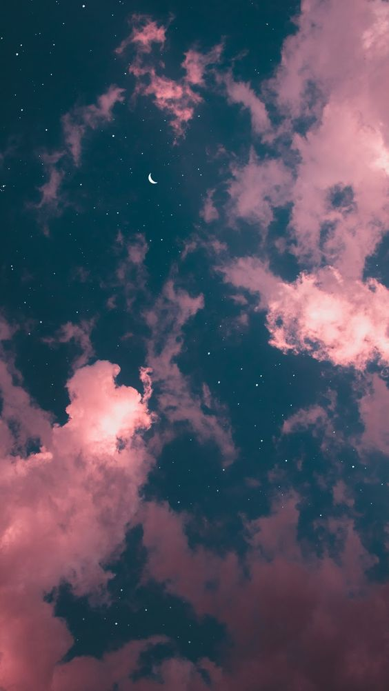 Night, sky, Moon, stars, Clouds, Android Wallpaper, iphone, Galaxy,