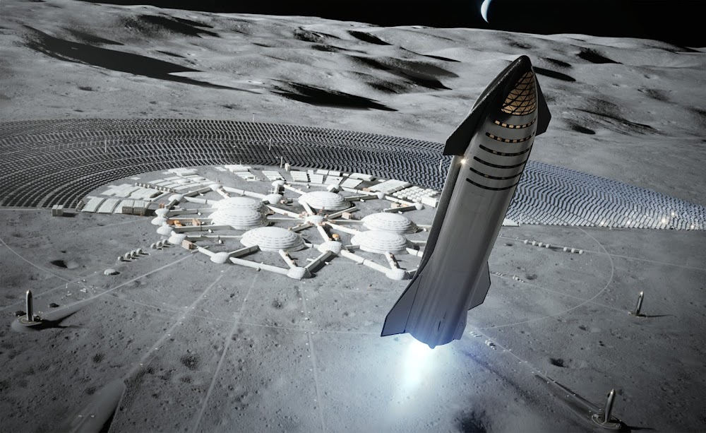 SpaceX's Starship landing at Moon Base Alpha
