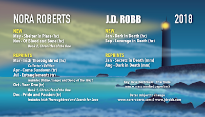 Nora Roberts, JD Robb, books, schedule, 2018, Bea's Book Nook