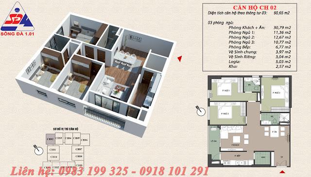 Thiết kế chung cư EcoGreen số 1 Giáp Nhị căn 02
