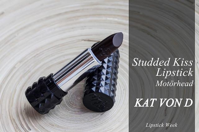 Studded Kiss Lipstick de Kat Von D, tono Motörhead. #mcalipstickweek.