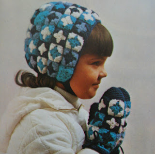 haak patroon winter muts wanten retro