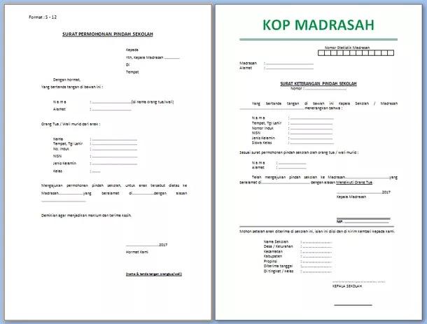 Contoh Surat Pindah Sekolah Madrasah