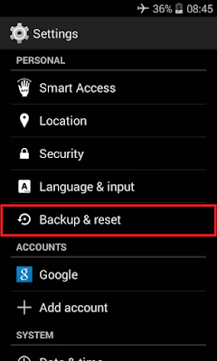 Cara factory reset hp android