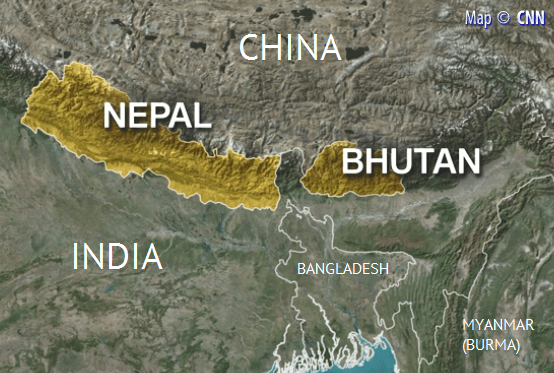 Map of Bhutan and Nepal, courtesy of CNN, with neighboring countries annotated