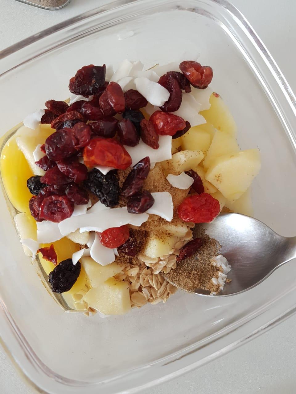muffin de maça e frutas vermelhas