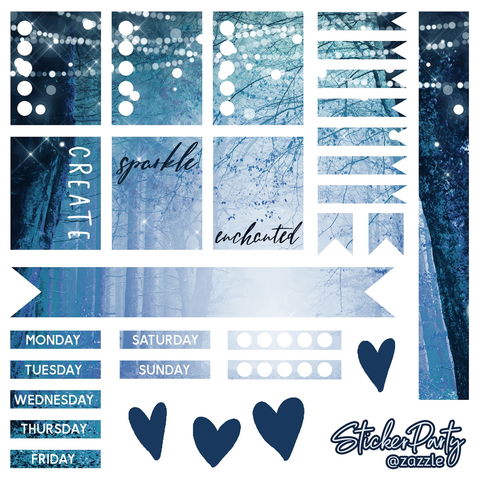 Enchanted Forest Navy Blue Free Planner Sticker Sheet Digital Download