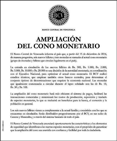 Seis nuevos billetes y tres monedas se sumarán al cono monetario venezolano desde el 15 de diciembre